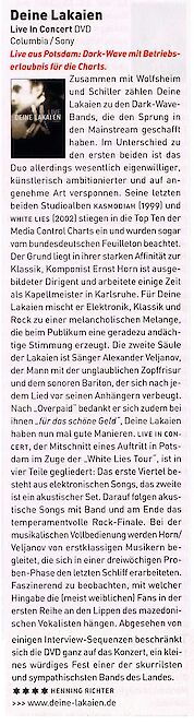 Musikexpress - Deine Lakaien Review